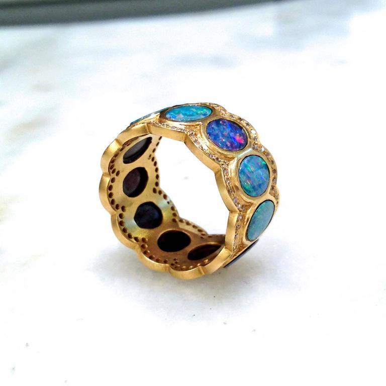 Lauren Harper Boulder Opal Disc Diamond Matte Gold Eternity Band Ring 2