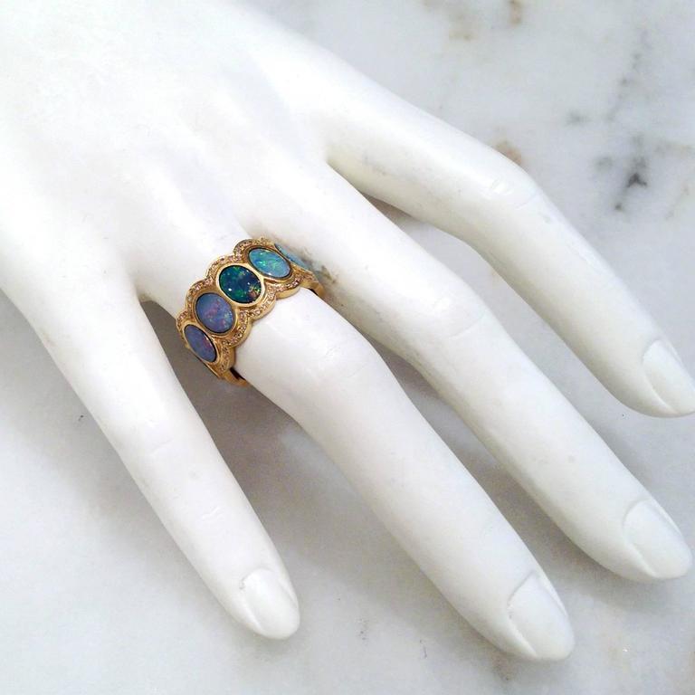 Lauren Harper Boulder Opal Disc Diamond Matte Gold Eternity Band Ring 4