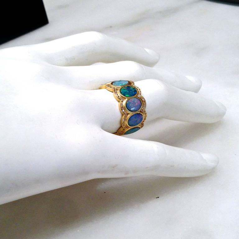 Lauren Harper Boulder Opal Disc Diamond Matte Gold Eternity Band Ring 3