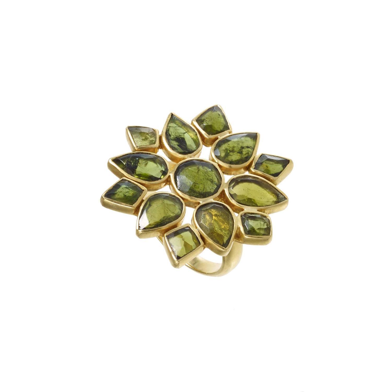 Green Tourmaline gold Layered Flower Ring at 1stdibs