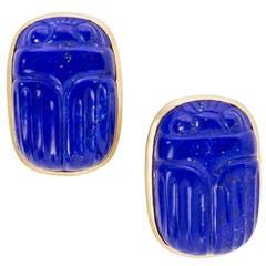 Lapis Lazuli Scarab Earrings