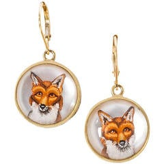 Hand Painted Crystal Gold Fox Head Earrings