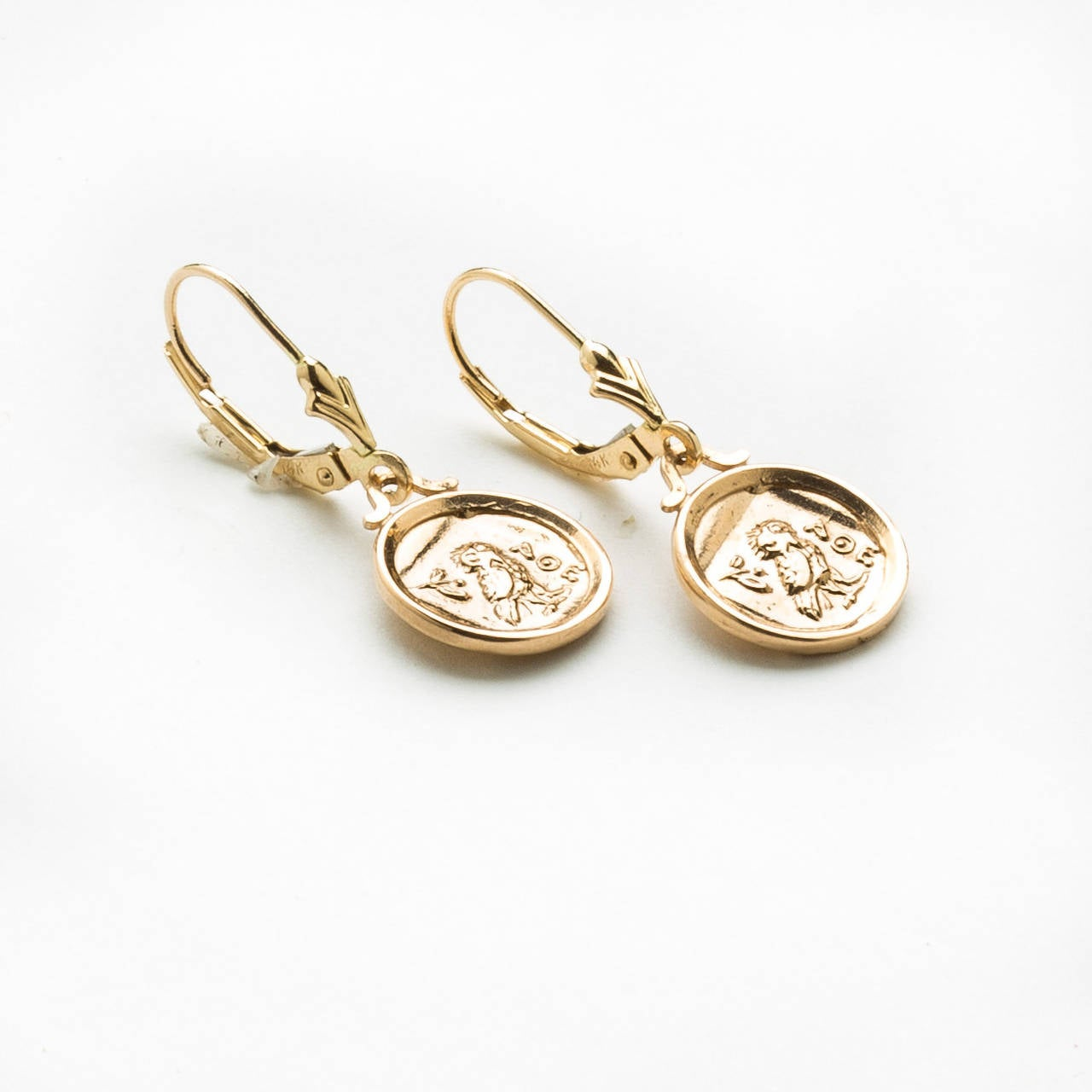 Owl Of Athena Gold Coin Earrings 2