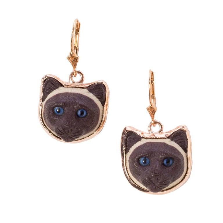 cappuccino jasper gold cat earrings at 1stdibs