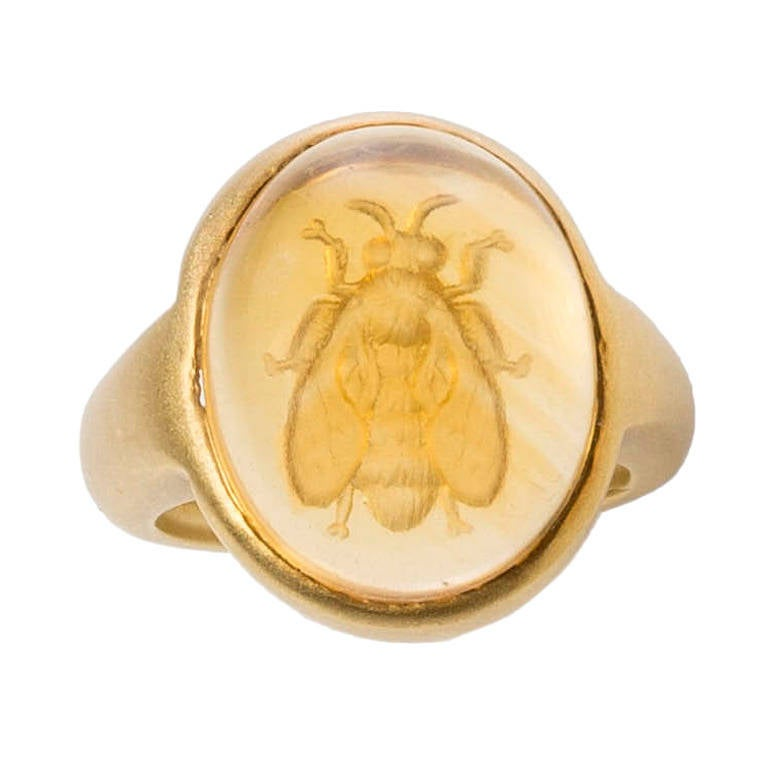 Citrine Gold Bee Intaglio Ring 1