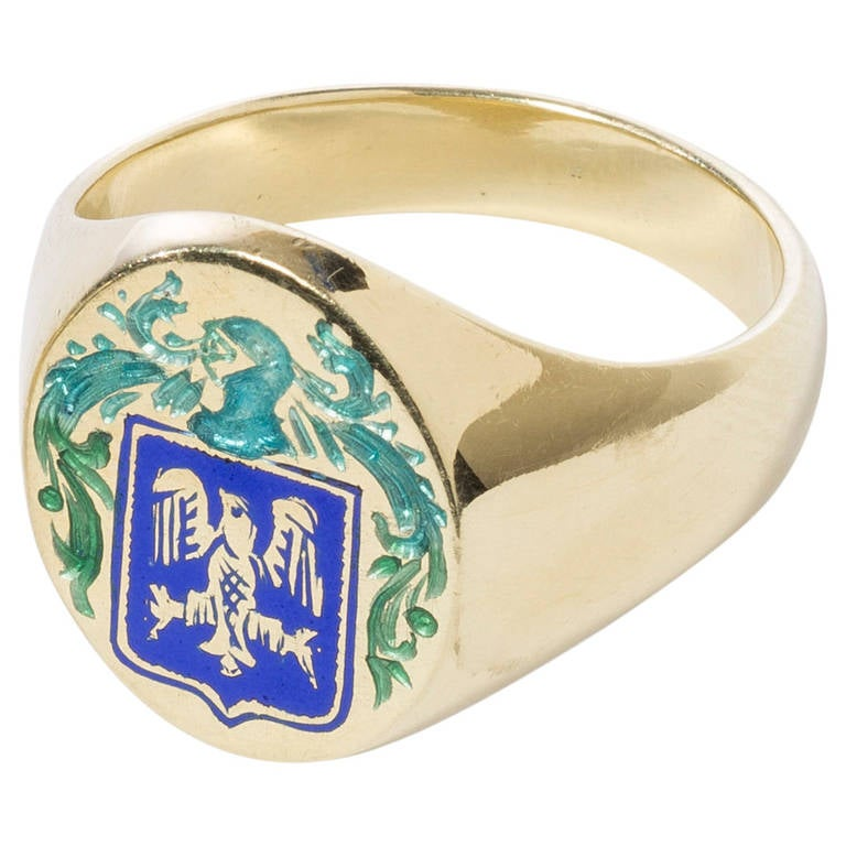 Heraldic Double Eagle Crest Gold Ring