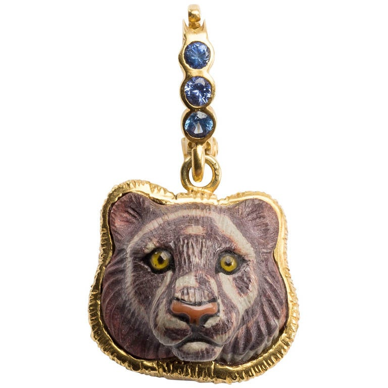 Jasper Tiger Head Pendant