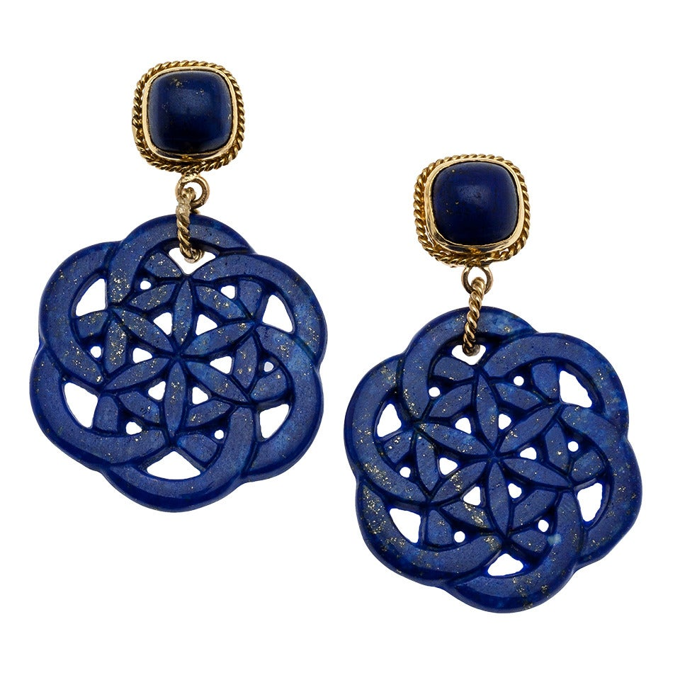 carved lapis lazuli earrings at 1stdibs