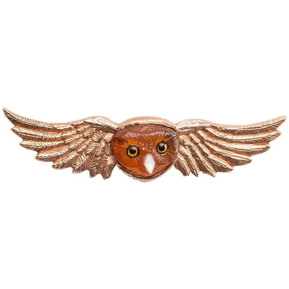 Winged  Tourmaline Owl Pin For Sale