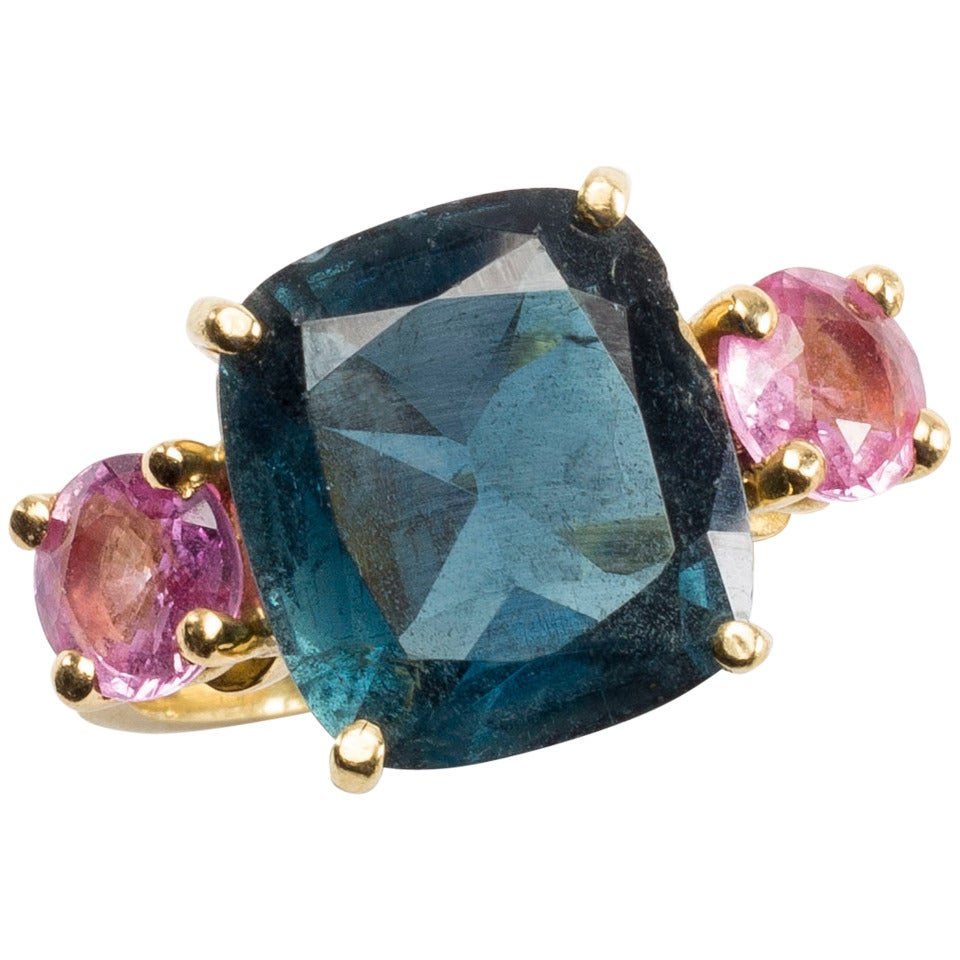 Blue Tourmaline Ring with Pink Sapphires
