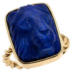 Handsome Carved Lapis Lazuli Lions Head Cocktail Ring
