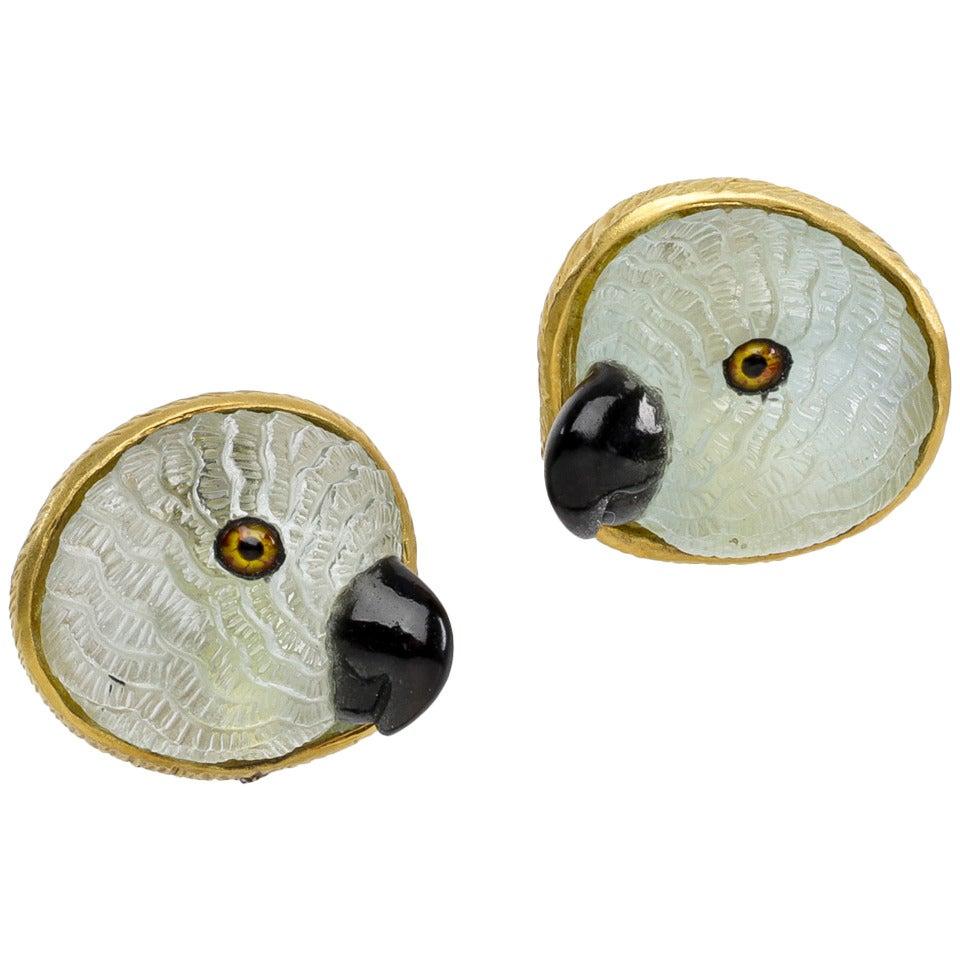 Light Blue Aquamarine Parrot Earrings 1