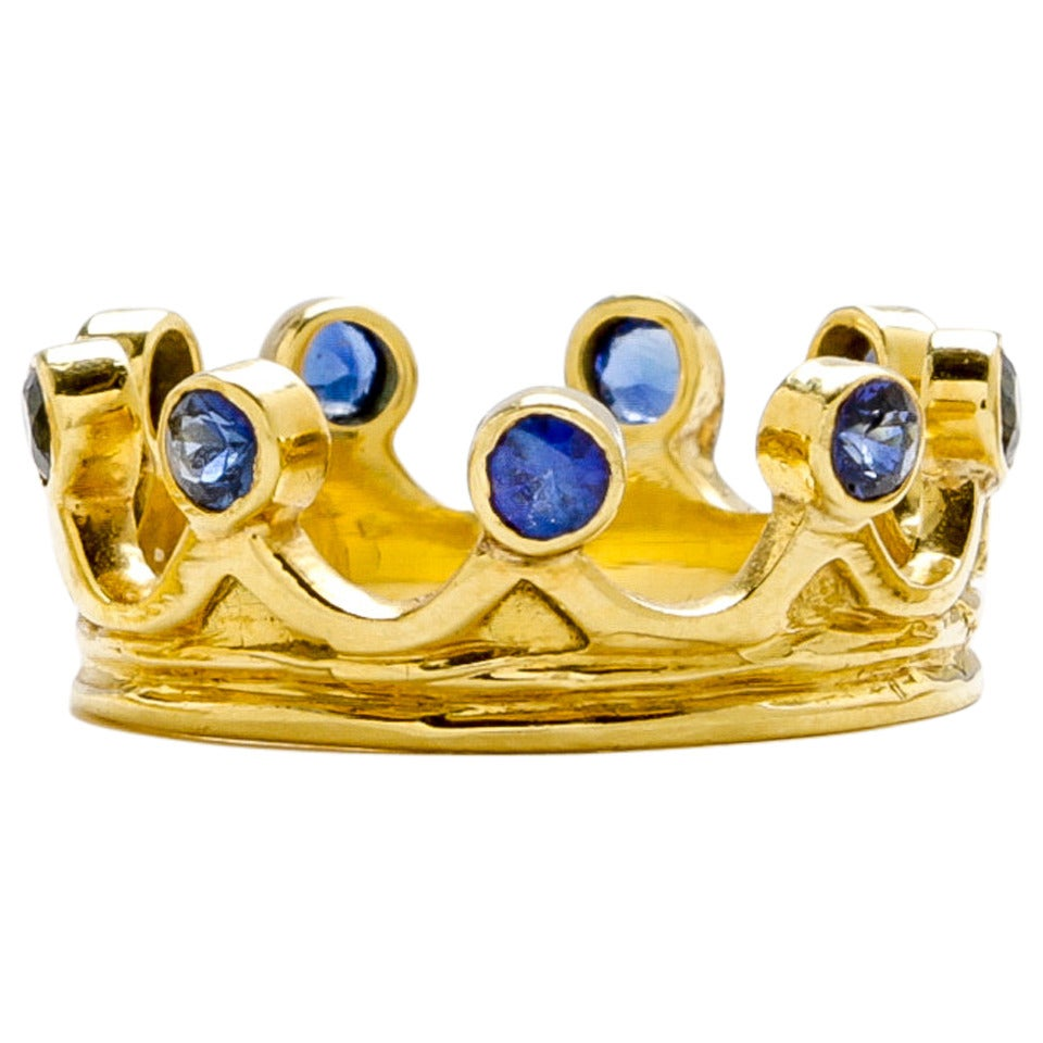 Queen's Ring with Blue Sapphires For Sale