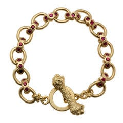 Heavy Reversible Ruby Diamond Gold Bracelet