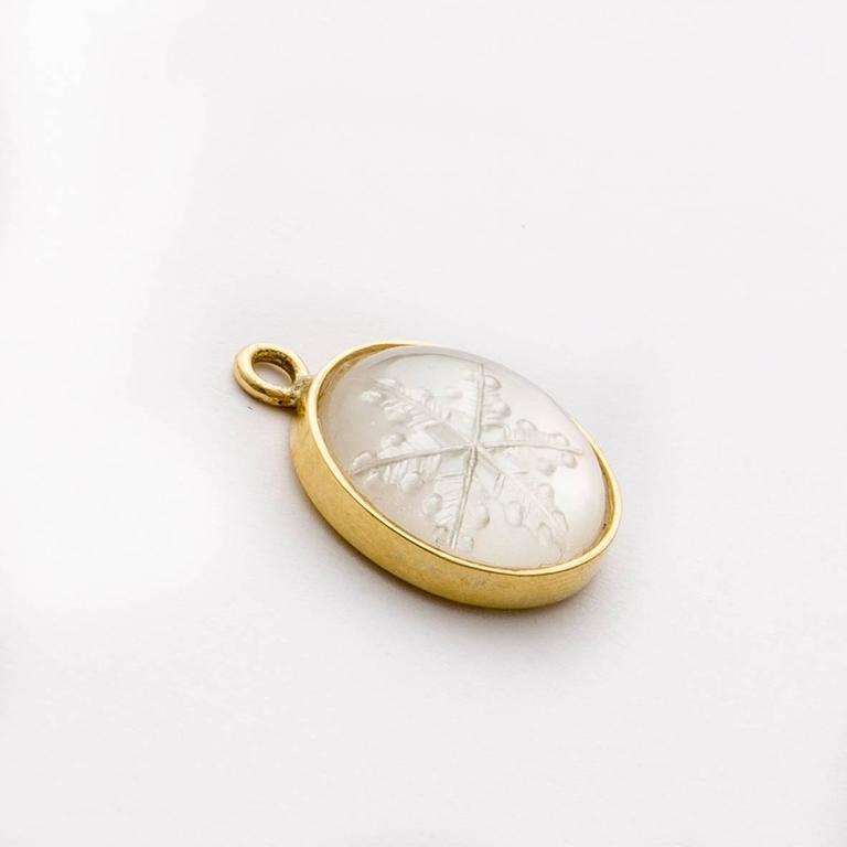 Snowflake Quartz Intaglio Gold Earrings 3