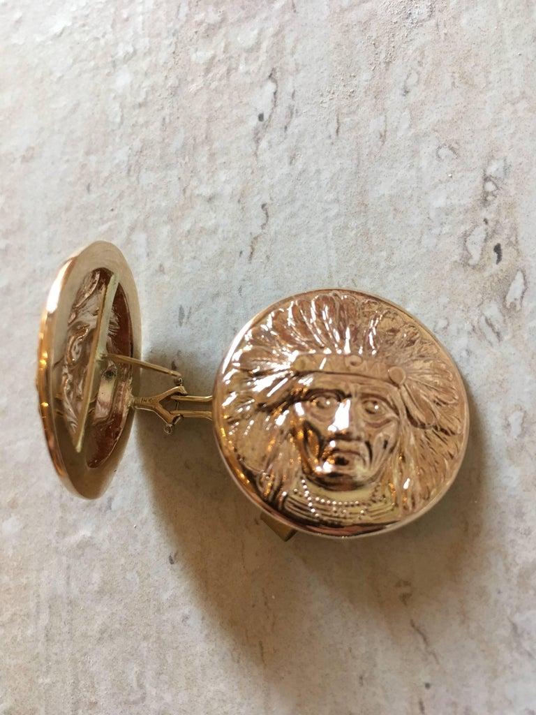 beautiful 18K native american chief clipback earrings 28mm