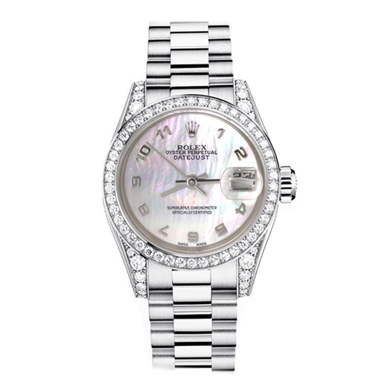 Rolex Ladies White Gold Mother of Pearl Dial Diamond Bezel Wristwatch 1
