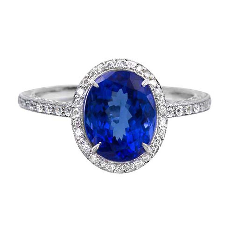 fancy oval tanzanite platinum ring for sale at 1stdibs