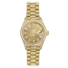 Rolex Lady's Yellow Gold Oyster Datejust President Diamond Wristwatch Ref 69158