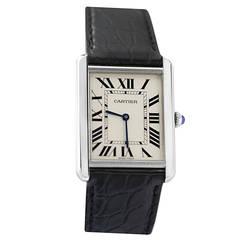 Cartier Stainless Steel Tank Solo Quartz Wristwatch