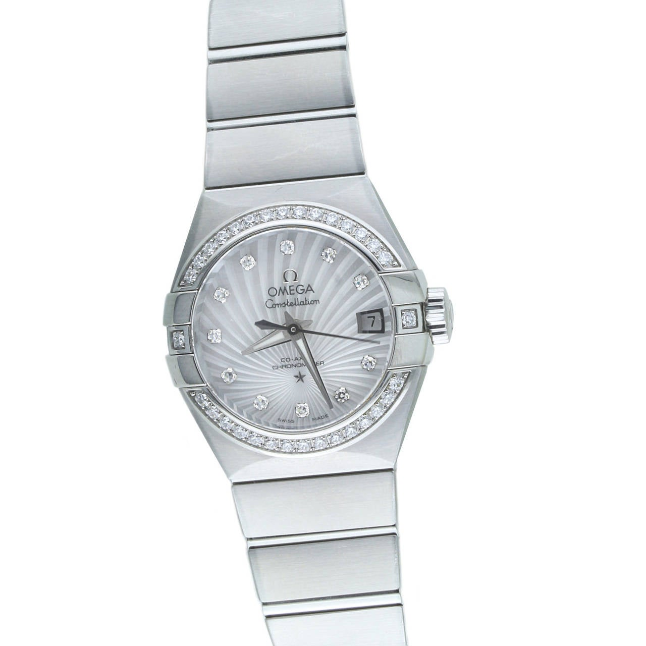 Omega Ladies Stainless Steel Constellation Diamond automatic Wristwatch