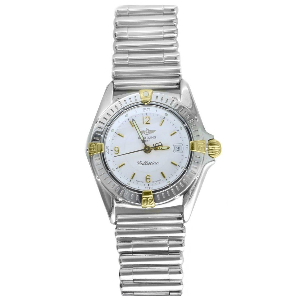 Breitling Lady's Yellow Gold Stainless Steel Callistino Wristwatch Ref B52045