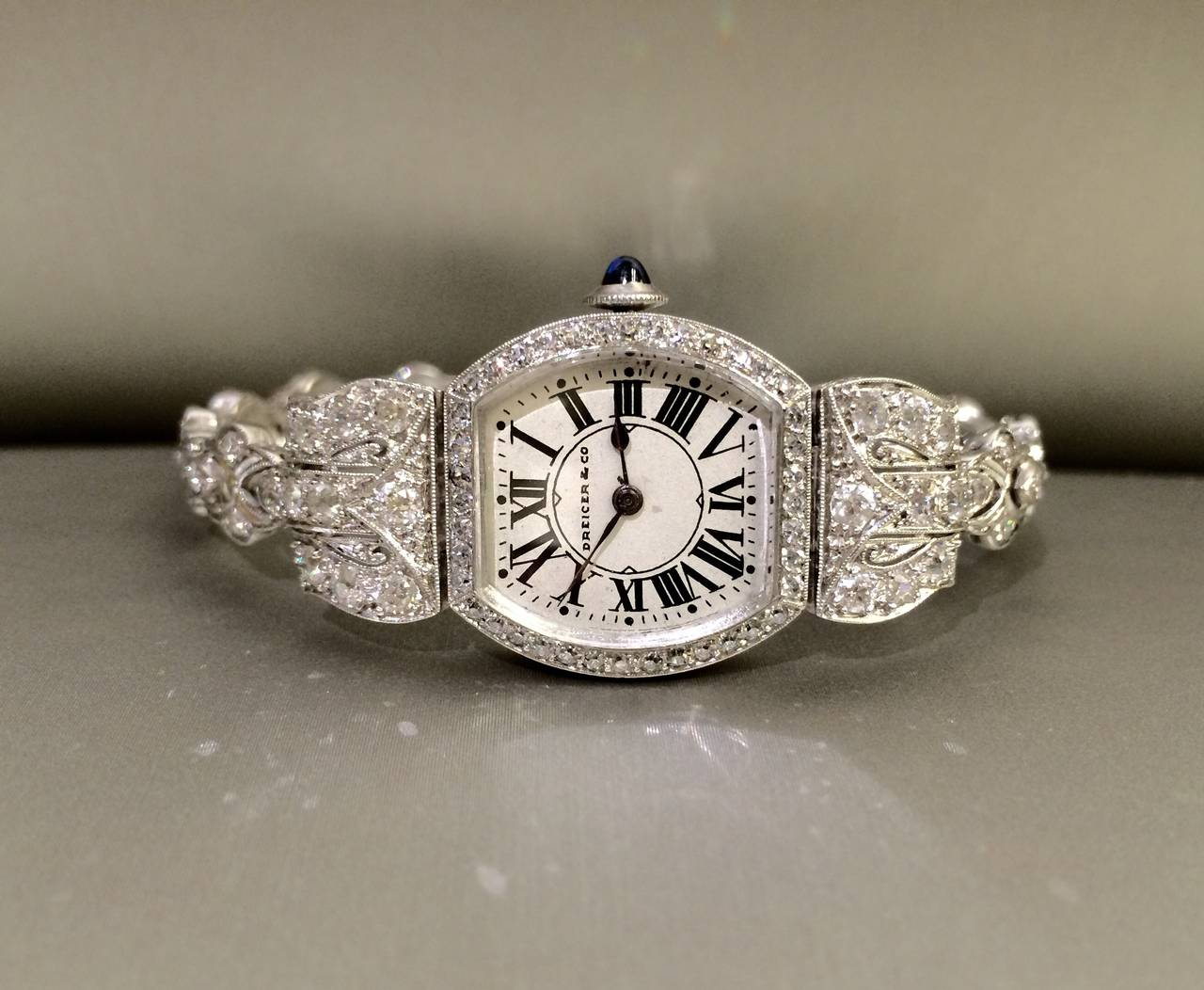 DREICER Platinum and Diamond Watch circa 1920s  4