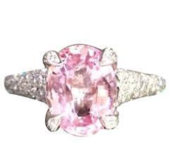 Pink Sapphire Diamond Platinum Cocktail Ring