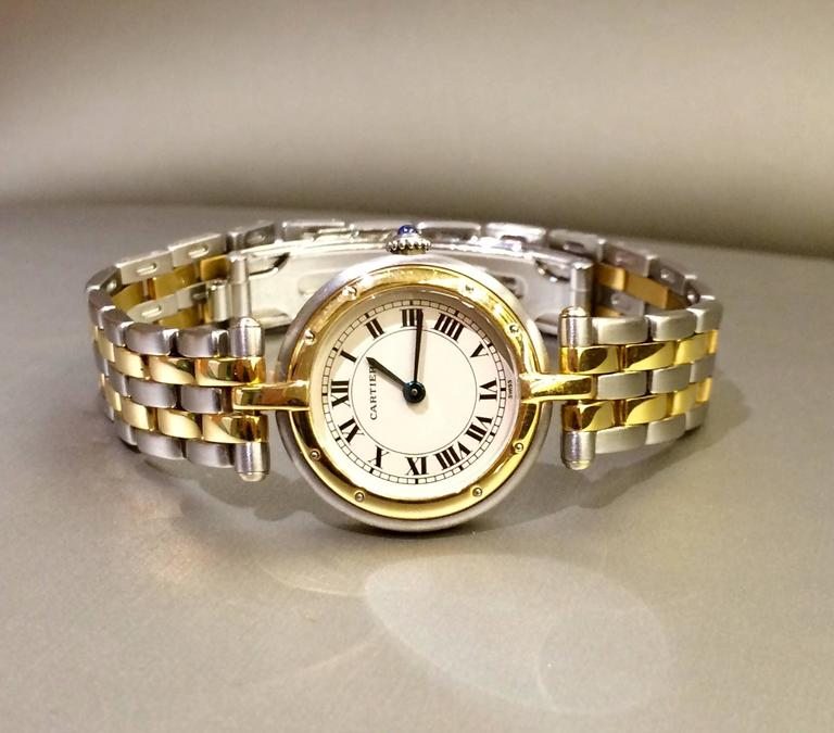 Cartier Panthere Ronde Collection timepiece, features a mix of yellow-gold and silver finishes, this exquisite pre-owned watch graces your wrist with Cartier cachet. Feel confident in any setting when you wear this chic timepiece with a precision