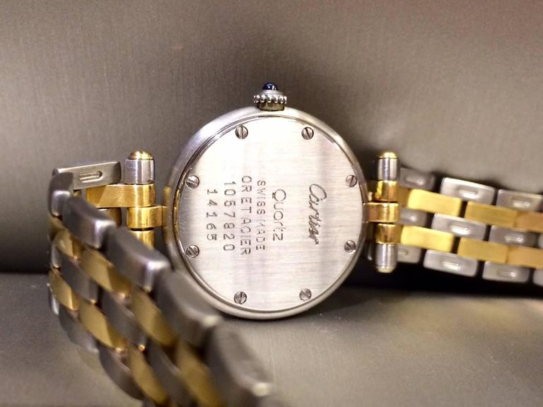 Cartier Yellow Gold Stainless Steel Ronde Collection Quartz Wristwatch In Excellent Condition For Sale In Ottawa, CA