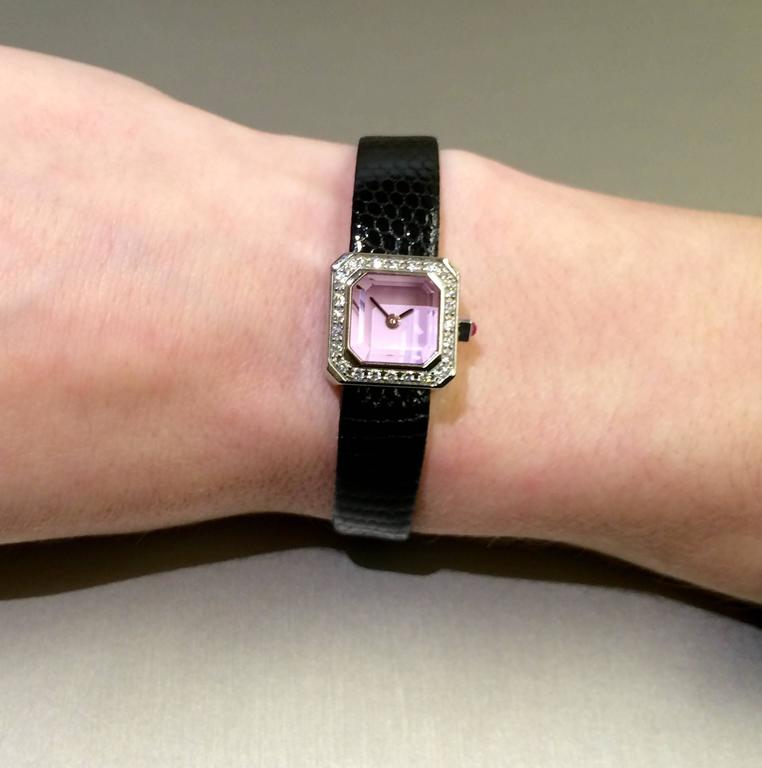 Corum Lady's Stainless Steel Diamond Pink Dial Sugar Cube Wristwatch  In As new Condition For Sale In Ottawa, CA