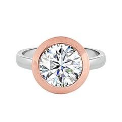 2.86 Carat Diamond Gold Platinum Solitaire Ring