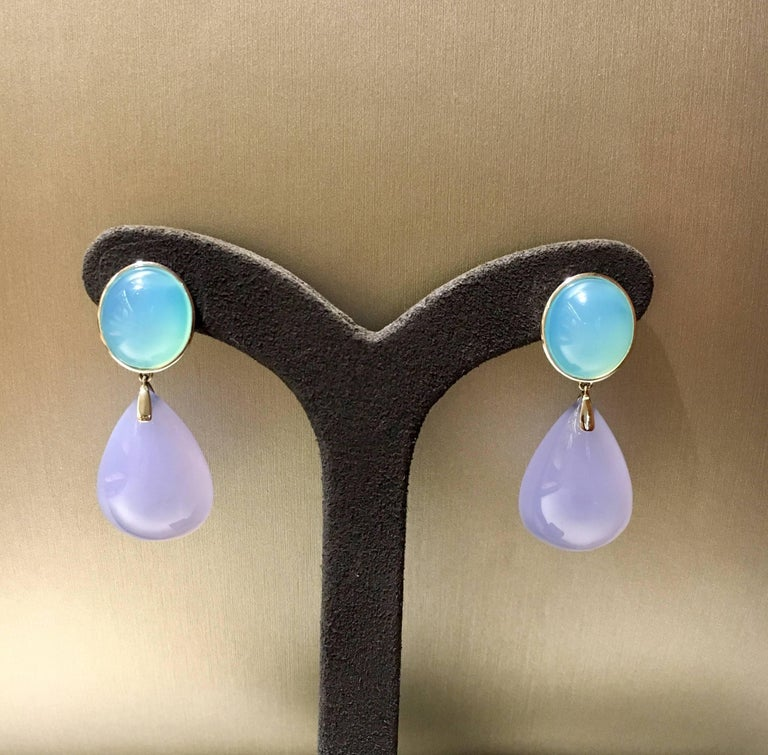 Chalcedony Drop Earrings 18kt White Gold In Excellent Condition For Sale In Ottawa, CA