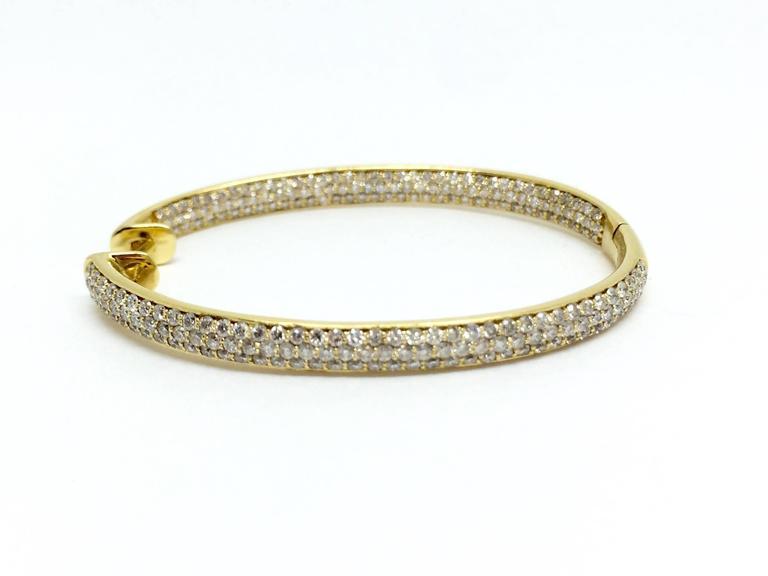 Pave all-around Diamond Hoop Earrings For Sale 1