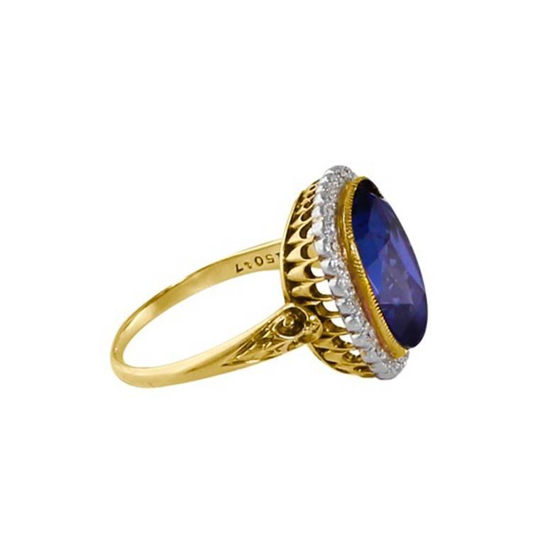 11.37 Carat GIA Certified Rare Unheated Natural Blue Sapphire Diamond Gold Ring 2