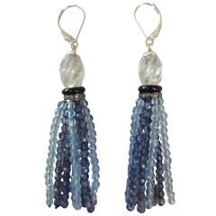Iolite Aquamarine Tassel Earrings