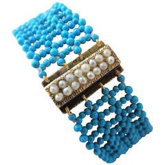 Multi Strand Woven Turquoise Bracelet with Antique and Natural Pearl Gold Clasp