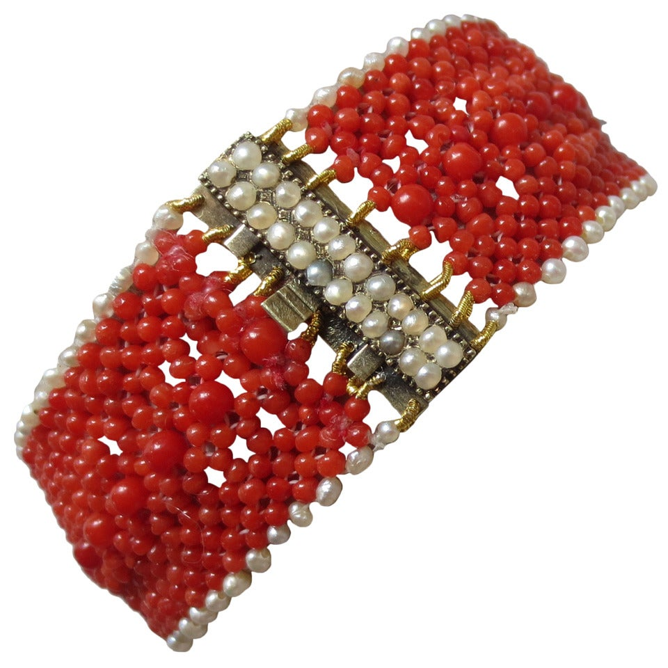 Woven Coral and Pearl Bracelet with a Pearl and 14 k Yellow Gold and Pearl Clasp