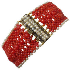 Marina J Woven Coral Natural Pearl Bracelet with Gold Clasp
