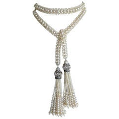 White Pearl Sautoir Necklace with Rhodium Plated Silver Beads and Pearl Tassels