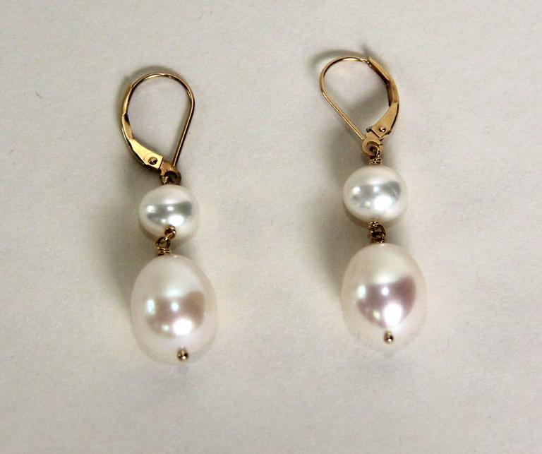 Marina J Double Pearl Drop Gold Hook Earrings 2