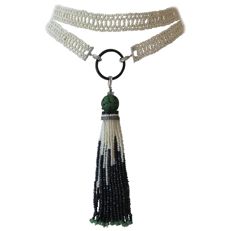 Marina J Woven Long Seed Pearl Sautoir Necklace with 14K Gold and Onyx Tassel For Sale