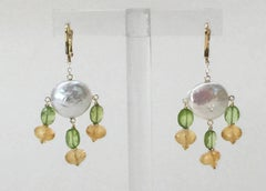 Critrine and Peridot Pearl Earrings with 14k Yellow Gold Lever Back