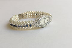 Vintage Diamond Watch with Pearl and Sapphire Band and 14 Karat White Gold Clasp
