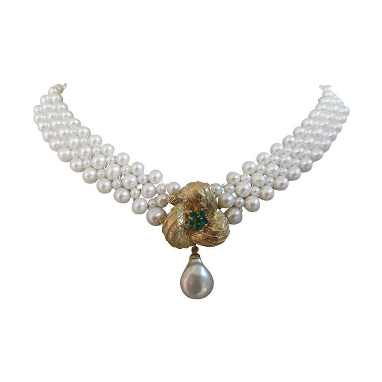 Woven Pearl Necklace with Emerald 14k Gold Centerpiece/Clasp by Marina J