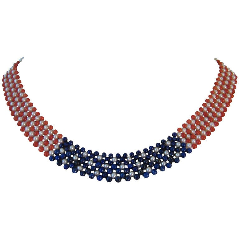 American Flag Woven Pearl, Coral, and Lapis Lazuli Necklace with 14k Yellow Gold