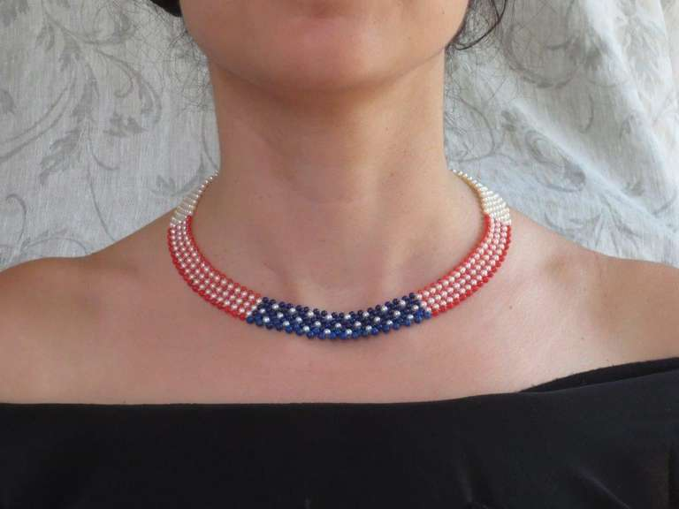 Bead Marina J. American Flag Woven Pearl, Coral, & Lapis Necklace with 14K yellow g. For Sale