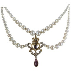 Marina J Graduated Pearl Necklace with Gold Vintage Pendant  and 14k gold clasp