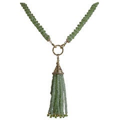 Peridot Tassel Sautoir Necklace