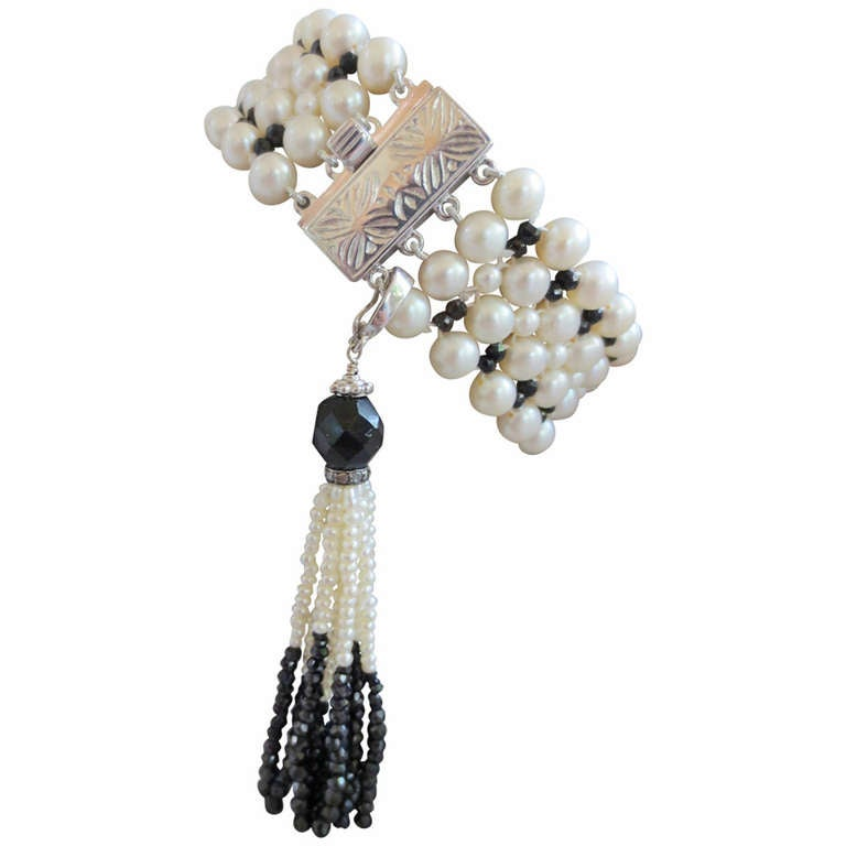"""""""Art Deco"""" Inspired Woven Pearl and Onyx Bracelet with Detachable Pearl Tassel"""